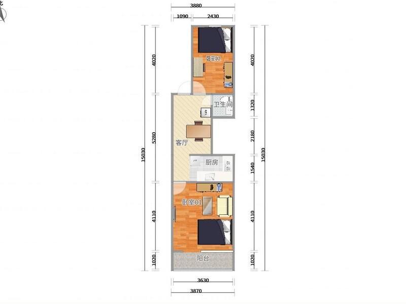 惠新西街安苑东里一区整租房源户型图