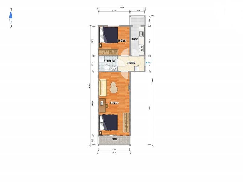 五道口南沙滩小区整租房源户型图