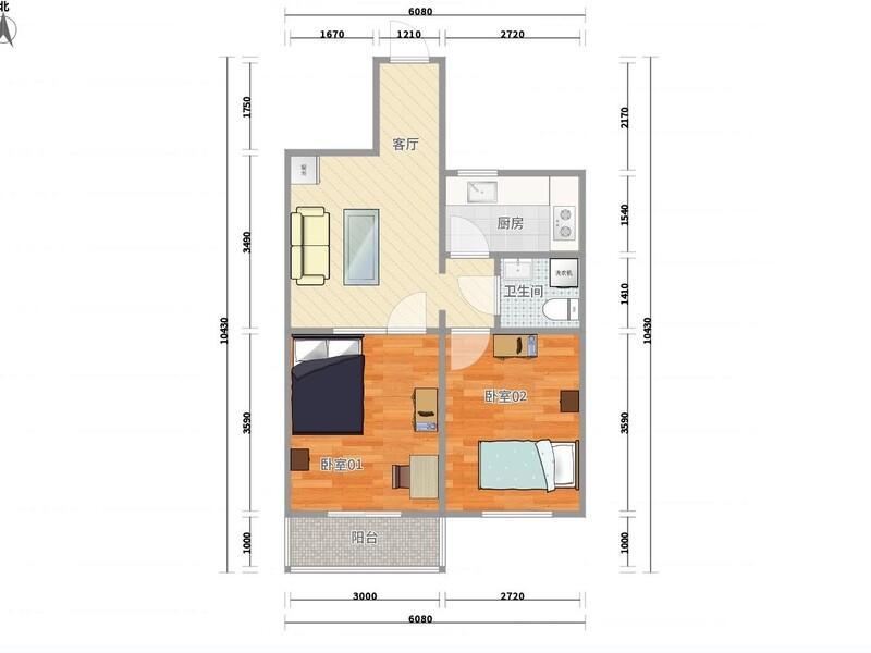 公主坟翠微路2号院整租房源户型图