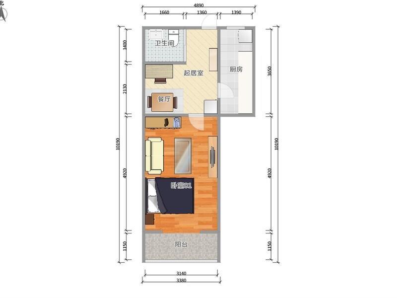 白石桥学院南路72号院整租房源户型图