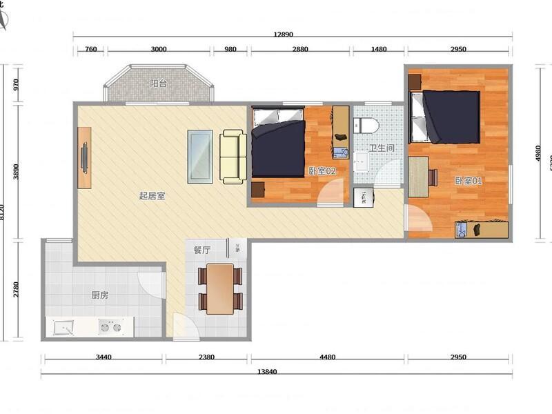 十里堡城市广场整租房源户型图