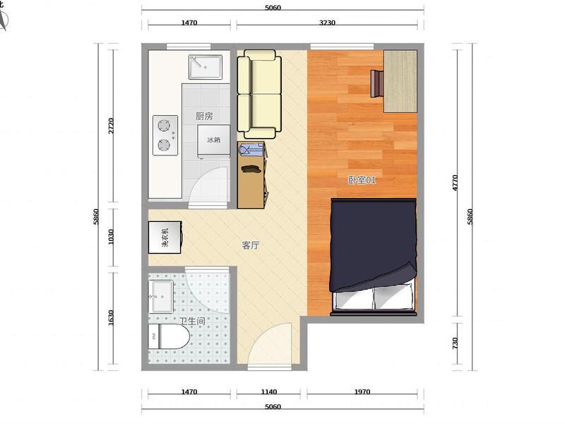 回龙观东亚上北中心整租房源户型图