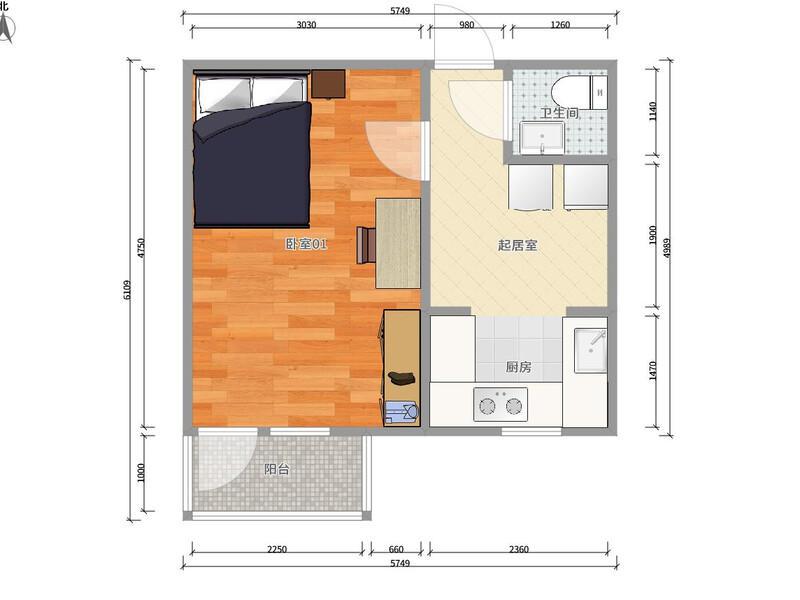 西单西黄城根45号院整租房源户型图