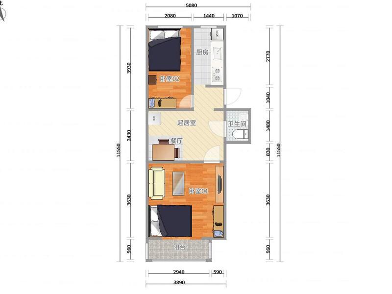 西单西黄城根南街一区整租房源户型图