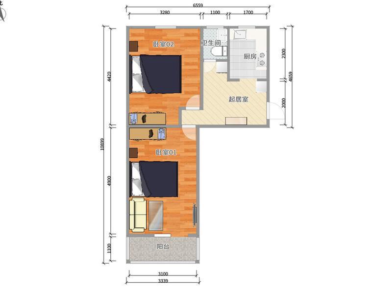 五棵松六建整租房源户型图
