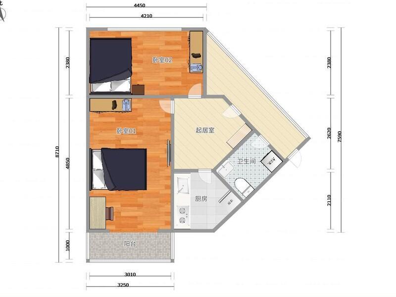 顺义城义宾北区整租房源户型图